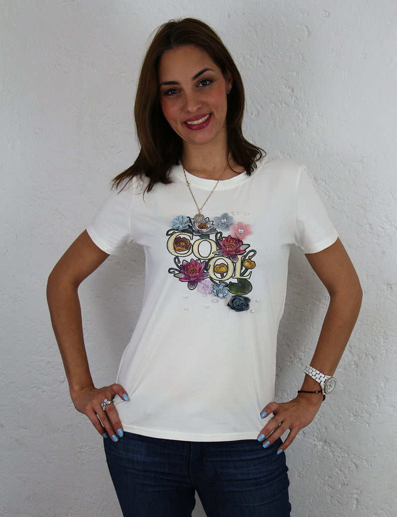Playera para dama con estampado 3D Color Blanca