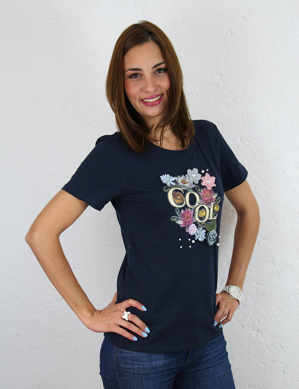 Playera para dama con estampado Color Azul Marino