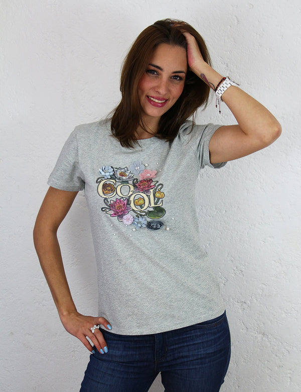 Playera para dama con estampado 3D Color Gris