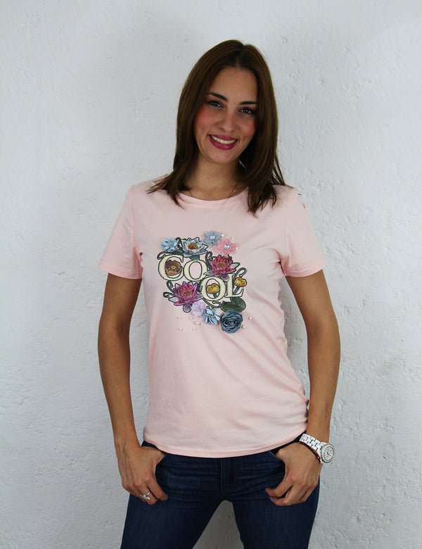 Playera para dama con estampado 3D Color Rosa Cool