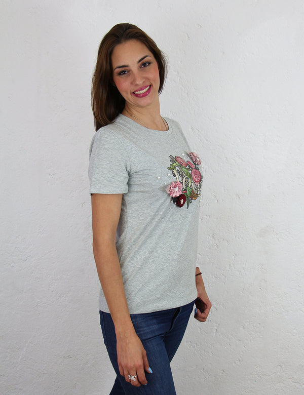 Playera para dama con estampado 3D Color Gris Love