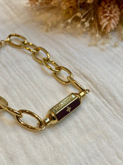 "Bracelet Lock, acier doré, ""Happy - Lucky - Smile"""