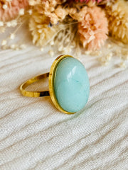 Bague cabochon ovale Amazonite