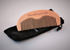 Single peach wood beard comb