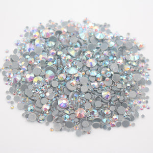 2500pcs Mix Size CrystalAB Round Flatback Crystals Rhinestones Glass Stones  And Crystals Strass Hotfix Rhinestones For ... 7253e918c33b