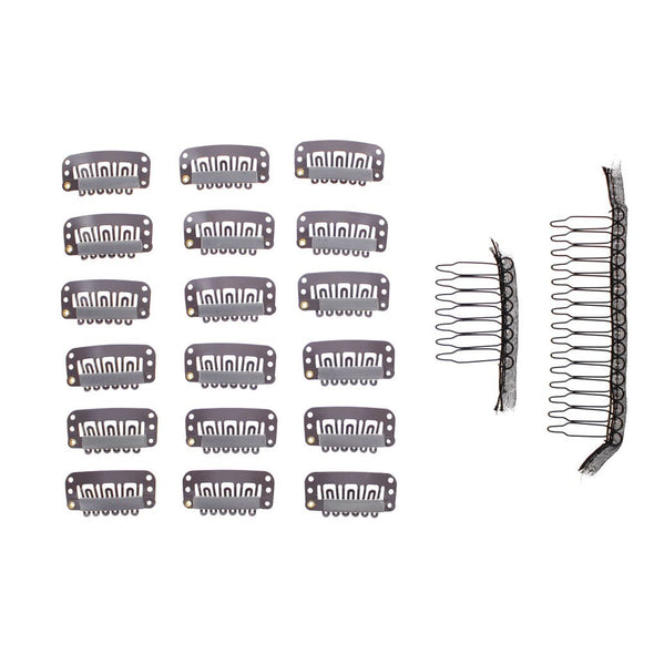 20 Pc Value Clips & Combs Bundle Brown