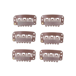 6 Pc Wig Snap Clip Tan
