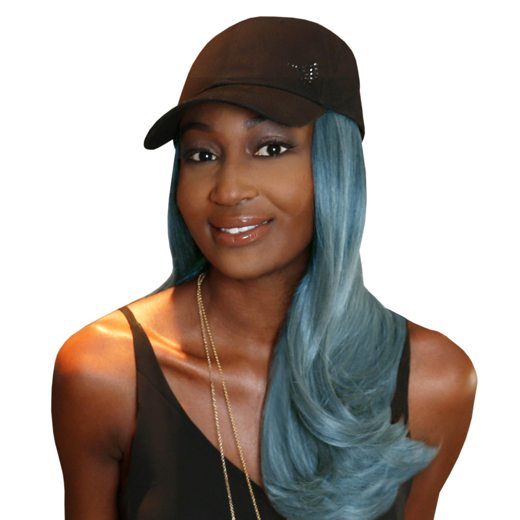 "18"" Splash One-Piece Blue Synthetic Hair Extension + FREE Baseball Hat"