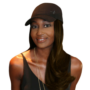 "Chic 18"" One-Piece Dark Brown Synthetic Hair Extension + FREE Baseball Hat"