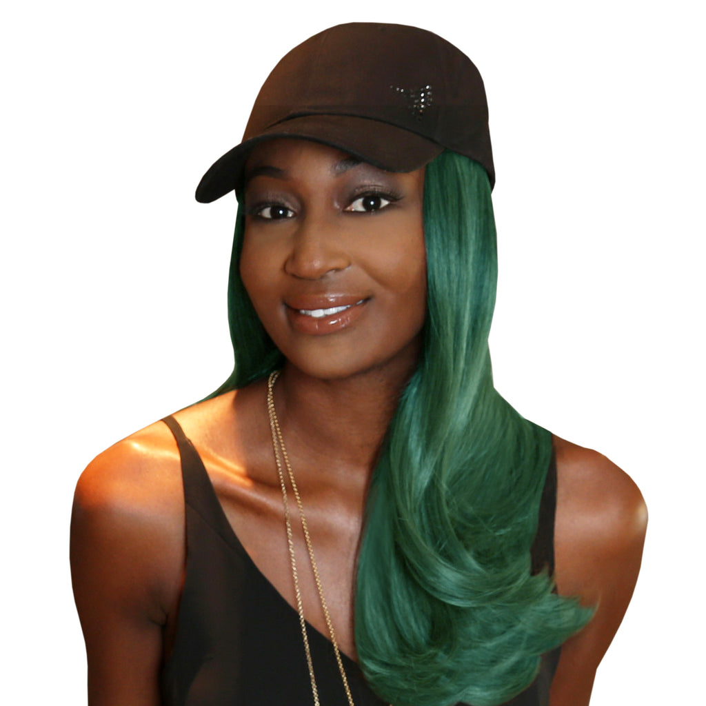 "18"" Splash One-Piece Green Synthetic Hair Extension + FREE Baseball Hat"