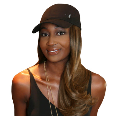 "Chic 18"" One-Piece Light Brown Synthetic Hair Extension + FREE Baseball Hat"