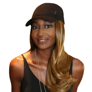 "Chic 18"" One-Piece Medium Blonde Synthetic Hair Extension + FREE Baseball Hat"