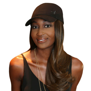 "Chic 18"" One-Piece Medium Brown Synthetic Hair Extension + FREE Baseball Hat"