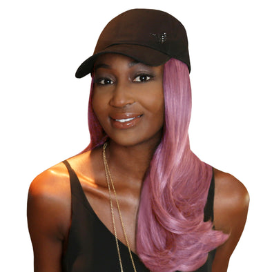 "18"" Splash One-Piece Pink Synthetic Hair Extension + FREE Baseball Hat"