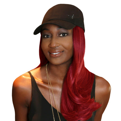 "18"" Splash One-Piece Red Synthetic Hair Extension + FREE Baseball Hat"