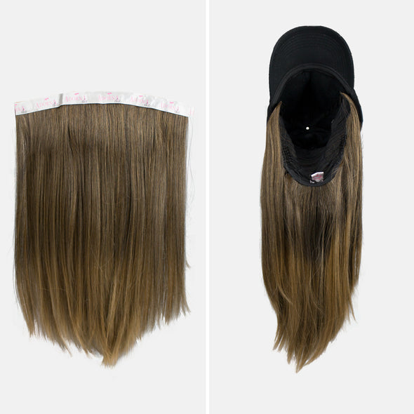 "AdornA Chic By Milano 18"" Premium Synthetic Hair Extension + Free Baseball Hat"