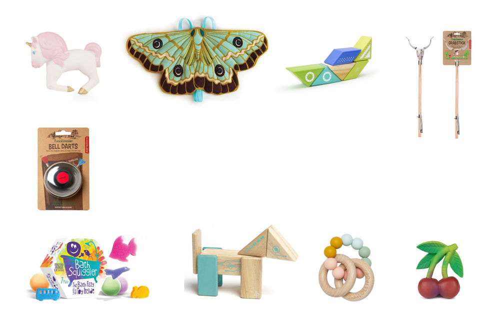 Oli and Co Natural Rubber Bath Toy - Loot Toys Kids Bath Bombs - Lovelane Designs Moth Wings - Tegu Travel Pals Spaceship - Huckleberry Toys Bell Darts - Huckleberry Toys Grabstick