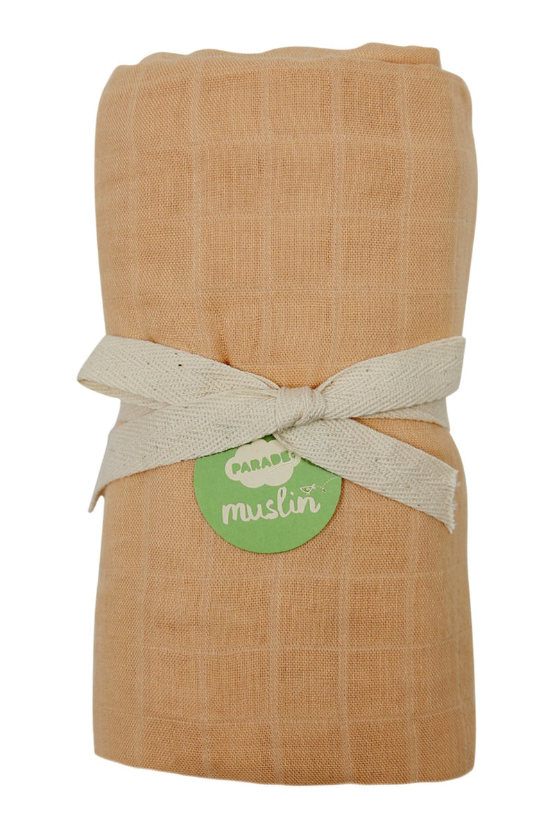 Parade Organics - Bamboo Muslin Swaddle - Cantaloupe - Blanket - Growing Co. Kids Eco Store