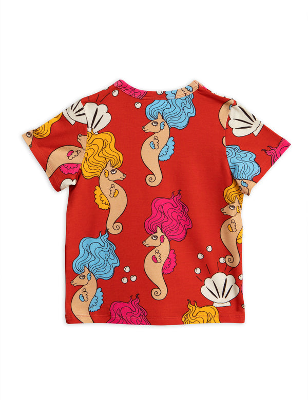 Mini Rodini - Tencel Kids T-shirt - Red Seahorse Print