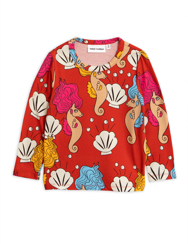Mini Rodini - TENCEL™ Modal - Long Sleeve Red Seahorse Tee - Sustainable Kids Fashion