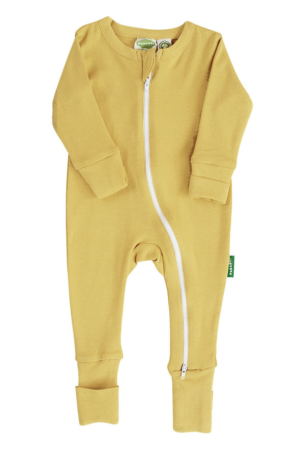 "Parade Organics - Essential Basic ""2-Way"" Zipper Romper - Mustard - Growing Co. Kids Eco Store"
