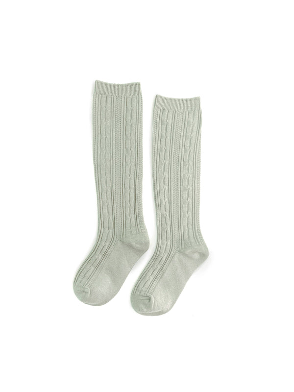 Sage Cable Knit Knee Highs - Growing Co. Kids Eco Store