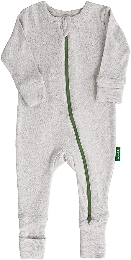 Parade Organics - Essential Basic '2-Way' Zipper Romper - Grey Melange w/ Olive - Romper - Growing Co. Kids Eco Store