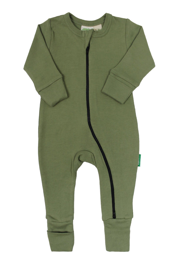"Parade Organics - Essential Basic ""2-Way"" Zipper Romper - Olive - Growing Co. Kids Eco Store"