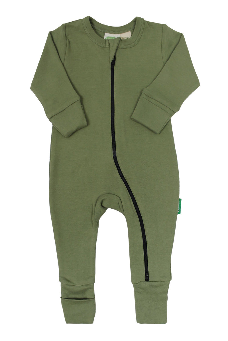 "Parade Organics - Essential Basic ""2-Way"" Zipper Romper - Olive - Romper - Growing Co. Kids Eco Store"