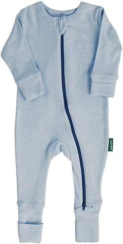 "Parade Organics - Essential Basic ""2-Way"" Zipper Romper - Blue Melange - Romper - Growing Co. Kids Eco Store"