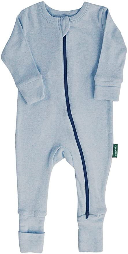 "Parade Organics - Essential Basic ""2-Way"" Zipper Romper - Blue Melange"