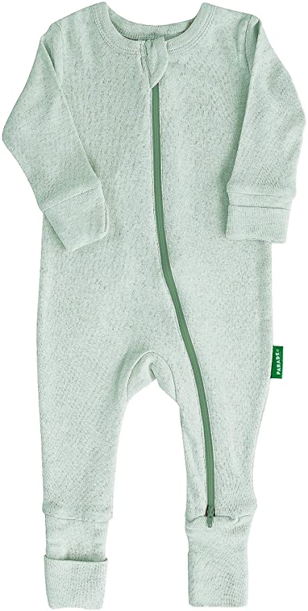 "Parade Organics - Essential Basic ""2-Way"" Zipper Romper - Green Melange - Romper - Growing Co. Kids Eco Store"