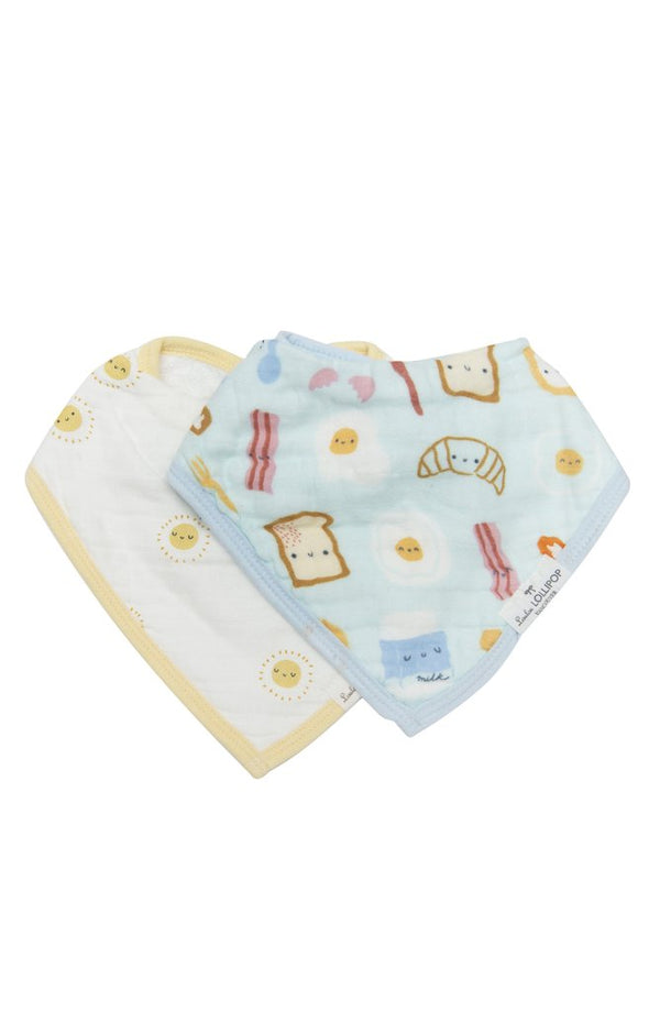 Loulou Lollipop - Bib Set of 2 (Blue Breakfast) - Bandana Bib - Growing Co. Kids Eco Store