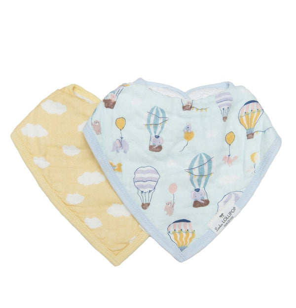 Loulou Lollipop - Bib Set of 2 - Up Up Away - Bandana Bib - Growing Co. Kids Eco Store