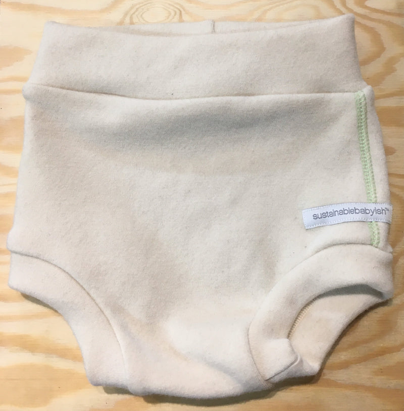 Sustainablebabyish - Interlock Wool Diaper Cover - Mint Stitching - Growing Co. Kids Eco Store