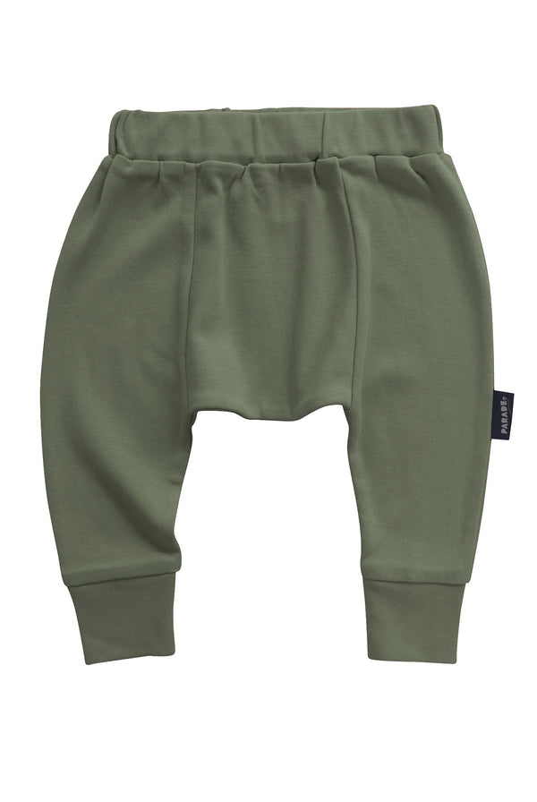 Parade Organics - Harem Pants - Olive - Growing Co. Kids Eco Store