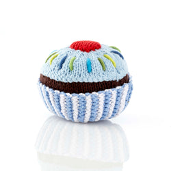 Pebble Rattle - Cupcake (Blue) - Rattle - Growing Co. Kids Eco Store