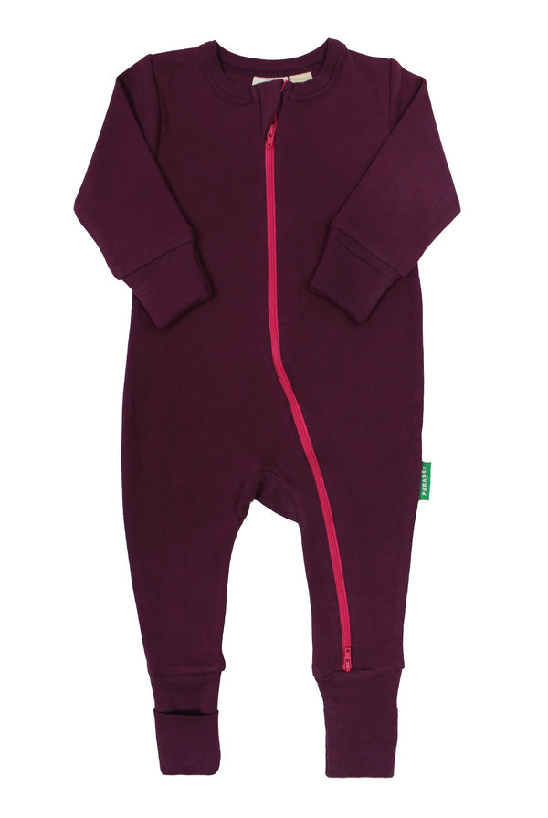 "Parade Organics - Essential Basic ""2-Way"" Zipper Romper - Wine - Growing Co. Kids Eco Store"