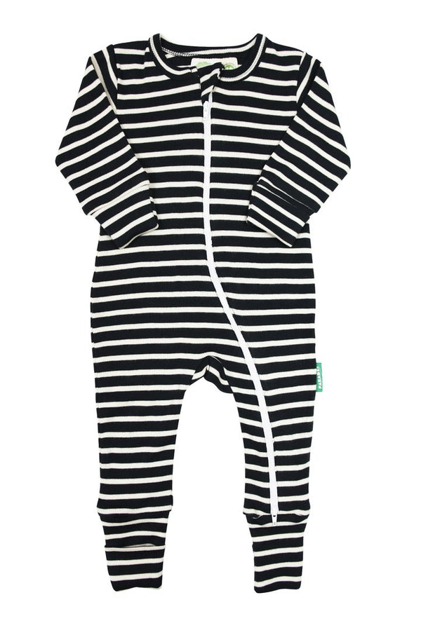 "Parade Organics - Signature Stripes ""2-Way"" Zipper Romper - Breton Stripes Black"