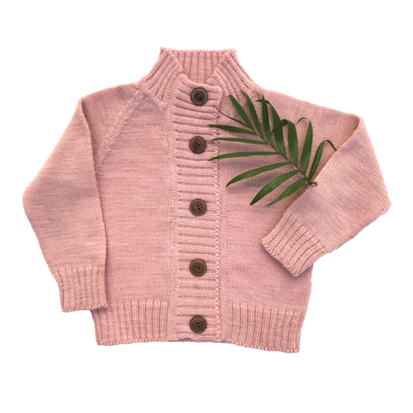 Nooks - Knit Merino Cardigan - Cherry Blossom - Cardigan - Growing Co. Kids Eco Store