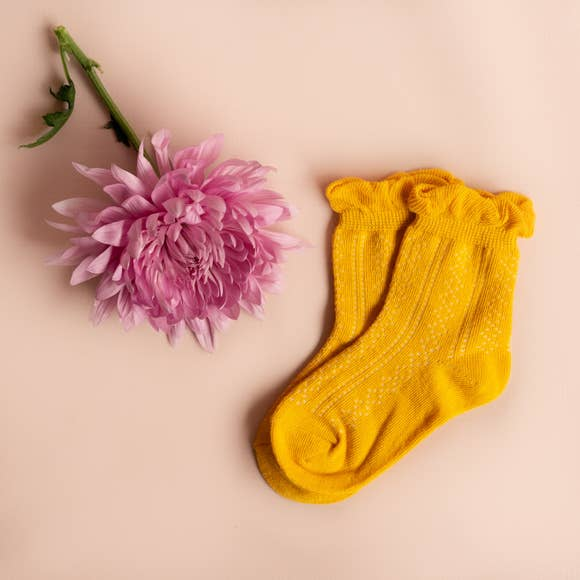 Little Stocking Co. Ruffle Ankle Sock (Mustard) - Ankle Sock - Growing Co. Kids Eco Store