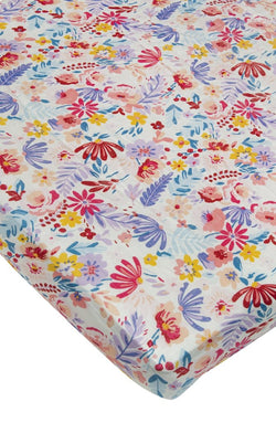 Loulou Lollipop - Crib Sheet - Field Flowers/ Light - Growing Co. Kids Eco Store