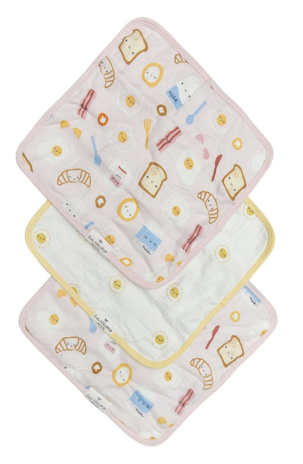 Loulou Lollipop - Wash Cloth Sets - Breakfast/ Pink - Washcloths - Growing Co. Kids Eco Store
