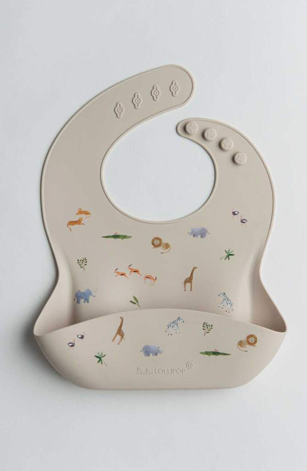 Loulou Lollipop - Printed Silicone Bib (Safari)