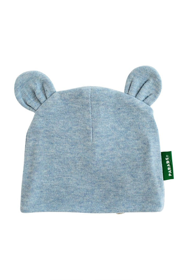 Parade Organics - Bear Hat - Melange Blue - Growing Co. Kids Eco Store