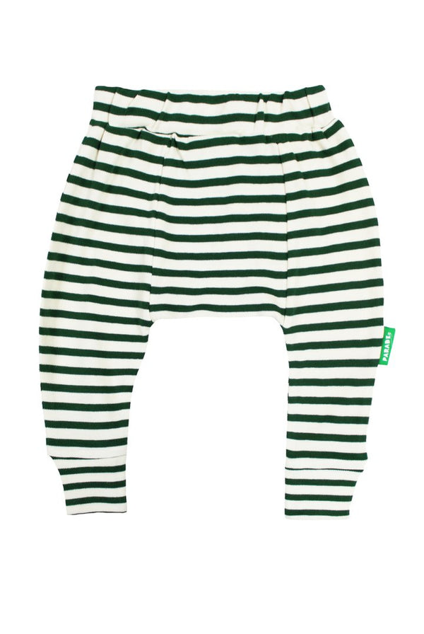 Parade Organics - Harem Pants - Breton Stripe/Hunter Green - Harem Pants - Growing Co. Kids Eco Store