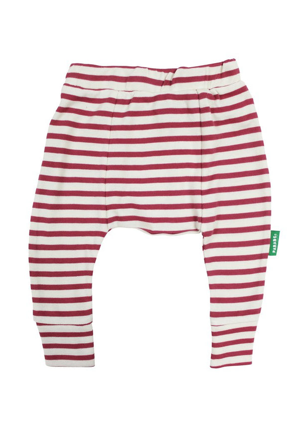 Parade Organics - Harems (Breton Stripe Raspberry) - Harem Pants - Growing Co. Kids Eco Store