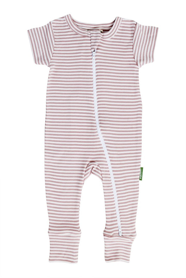 "Parade Organics - Summer Signature Print ""2 Way"" Zip Romper (Misty Rose Breton Stripe) - Romper - Growing Co. Kids Eco Store"