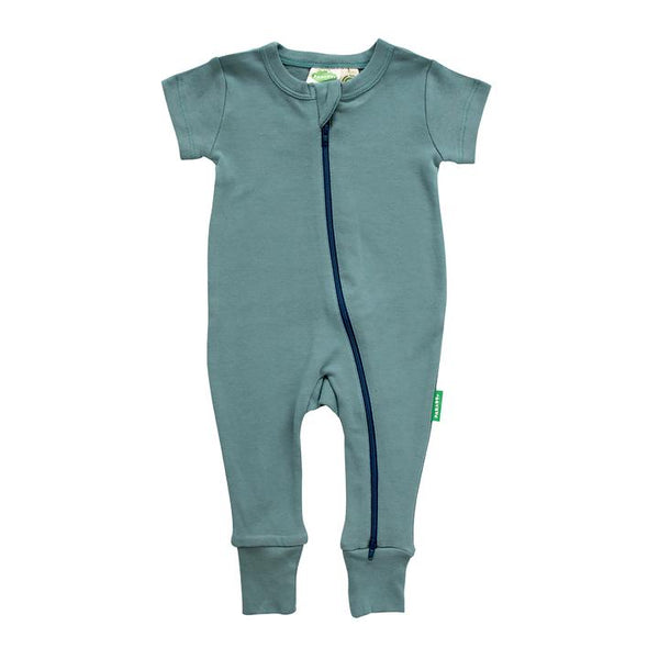 Parade Organics - Essential Basics '2 Way' Zip Romper - Short Sleeve - Ocean - Growing Co. Kids Eco Store