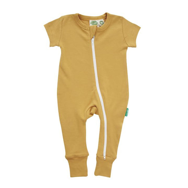 Parade Organics - Essential Basics '2 Way' Zip Romper - Short Sleeve - Ochre - Growing Co. Kids Eco Store